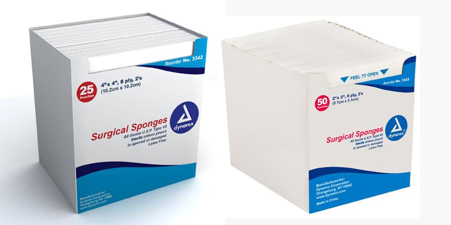 Sterile Gauze Sponge - 8 ply, 2 per pouch